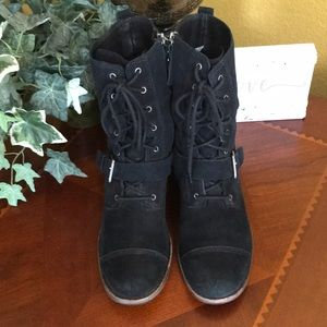 UGG Black Marela Lace Up Buckle Boots